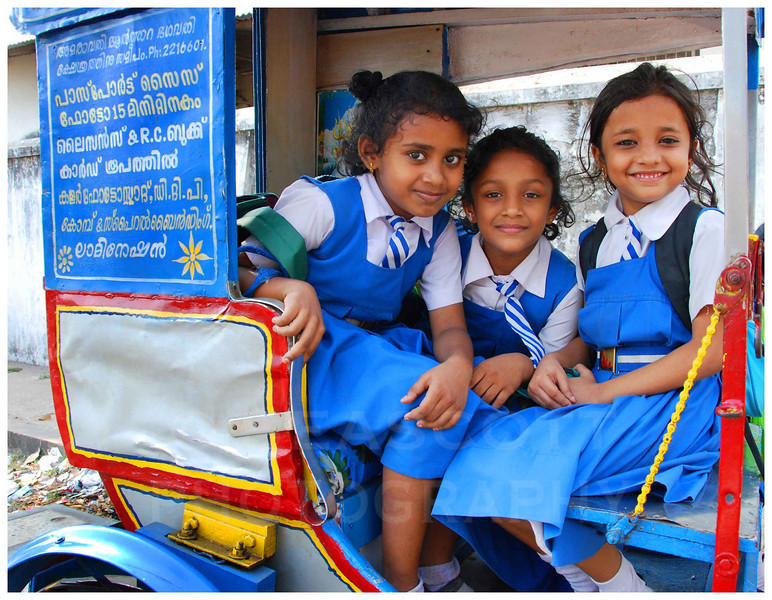 Students head home from their private Catholic school in Cochin, India.