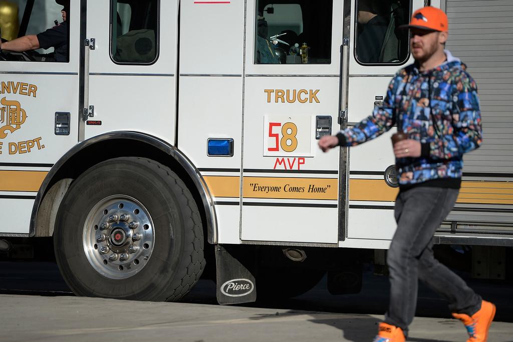 . DENVER, CO - February 09: Denver Fire truck #8 gets in the Broncos spirit sporting Von Miller\'s #58 for the Denver Broncos Super Bowl 50 celebration parade February 07, 2016. (Photo by Andy Cross/The Denver Post)