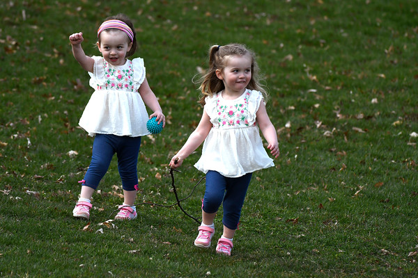 4/13/2018 Mike Orazzi | Staff Twins Aislyn and Hadley Moran, almost 3, while at Bristol Eastern High School Friday afternoon.