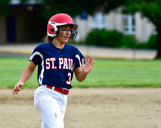 5/29/2019 Mike Orazzi | Staff St. Paul's McKenzie Gauthier (3) during Wednesday's Class S First Round softball game in Bristol.