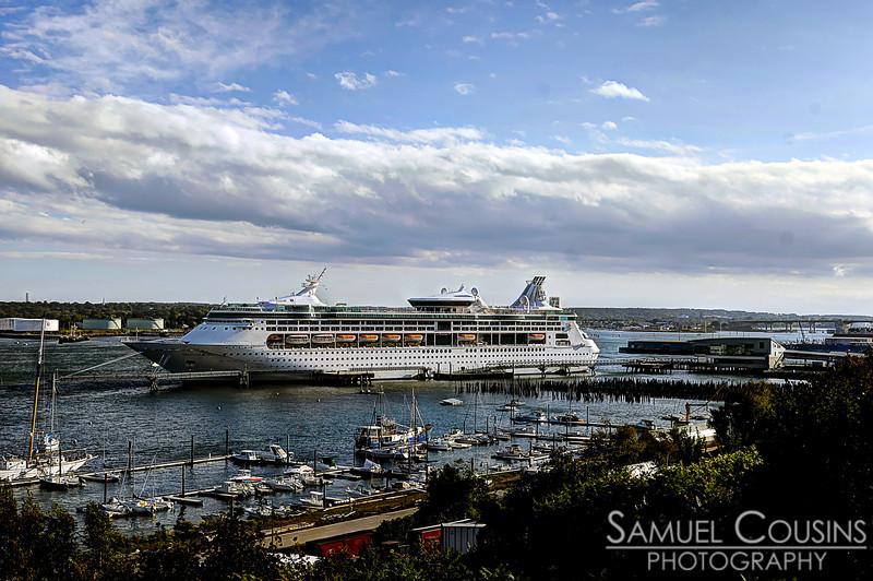 The cruise ship 'Grandeur of the Seas' docked at the Ocean Gateway.