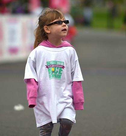 5/12/2018 Mike Orazzi | Staff Christina Cocch,3, during the CT Race in The Park Saturday morning in New Britain's Walnut HIll Park.