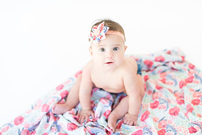 6 month old Studio Photos - Rose - plain white backdrop