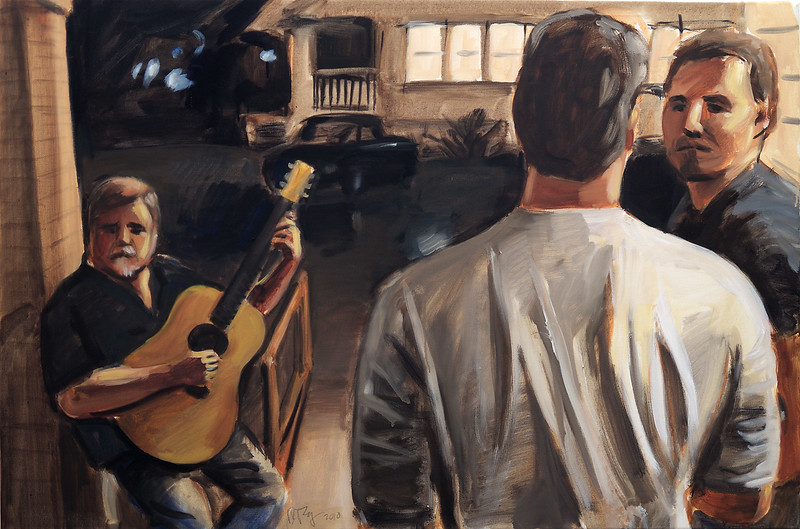 Porch Musicians; oil on canvas, 24 x 36 in, 2010
