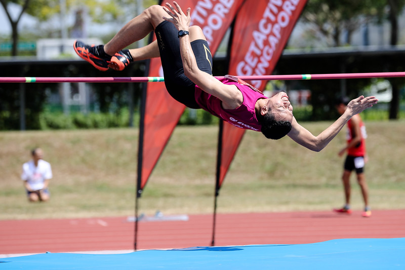 Men High Jump U19 & Corporate Open -Players in action at Men High Jump U19 & Corporate Open, GetActive Singapore at the home of Athletics, on 5th Aug 2017. Photo by Sanketa Anand/Sport Singapore