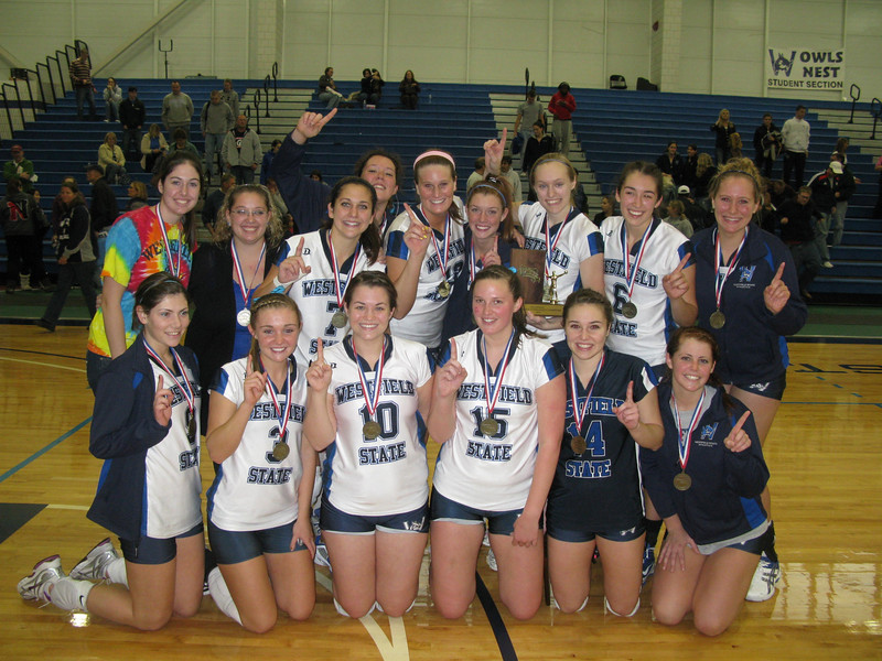 Possible photo for fall sports review article written by Mickey Curtis:  The 2010 Westfield State women's volleyball team won the MASCAC championship and participated in the NCAA Tournament for the second straight year.