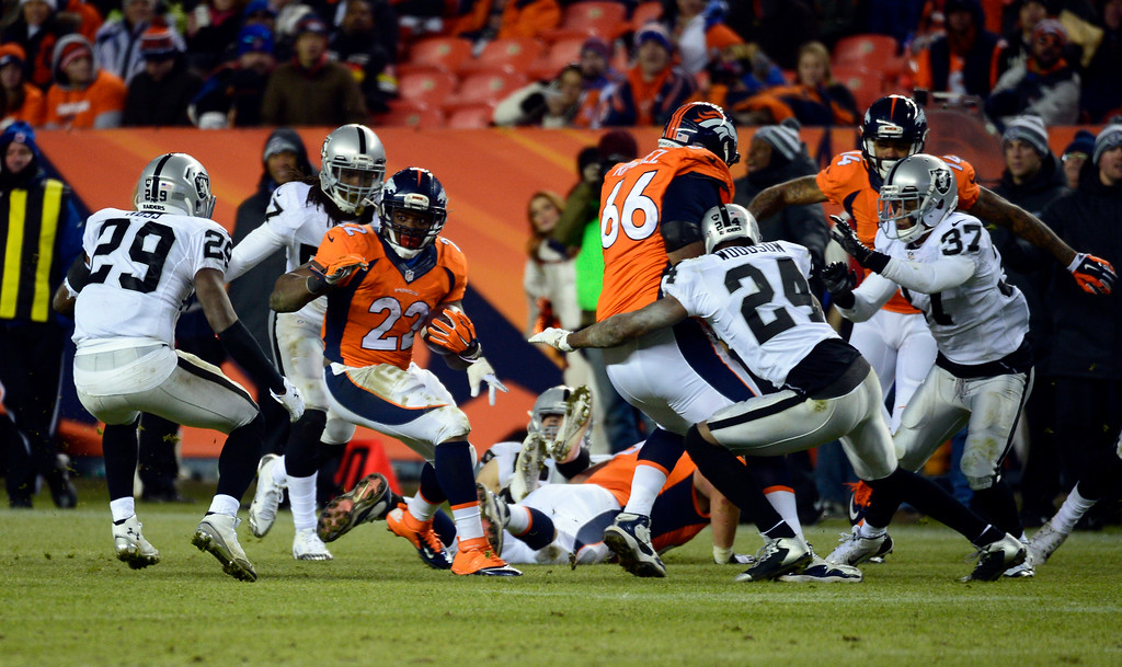 . DENVER, CO - DECEMBER 28: C.J. Anderson (22) of the Denver Broncos breaks through traffic during the fourth quarter.  The Denver Broncos played the Oakland Raiders at Sports Authority Field at Mile High in Denver on December, 28 2014. (Photo by Tim Rasmussen/The Denver Post)