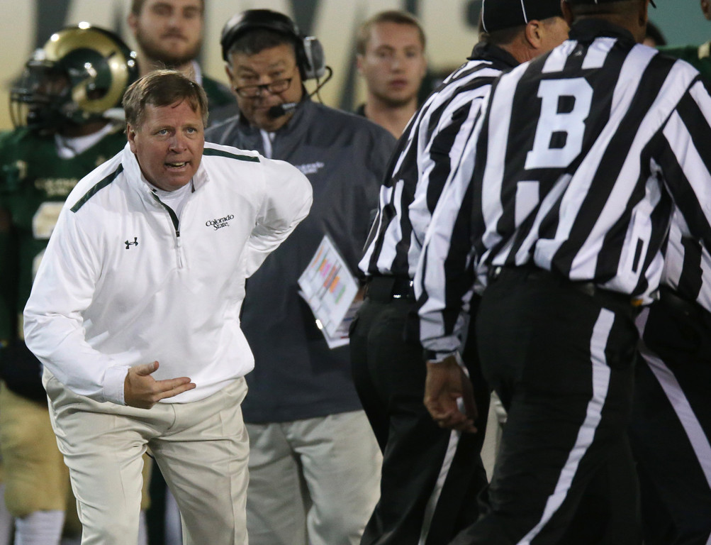 . Colorado State coach Jim McElwain discusses a call with officials during the first quarter of an NCAA college football game against Hawaii in Fort Collins, Colo., on Saturday, Nov. 8, 2014. (AP Photo/David Zalubowski)