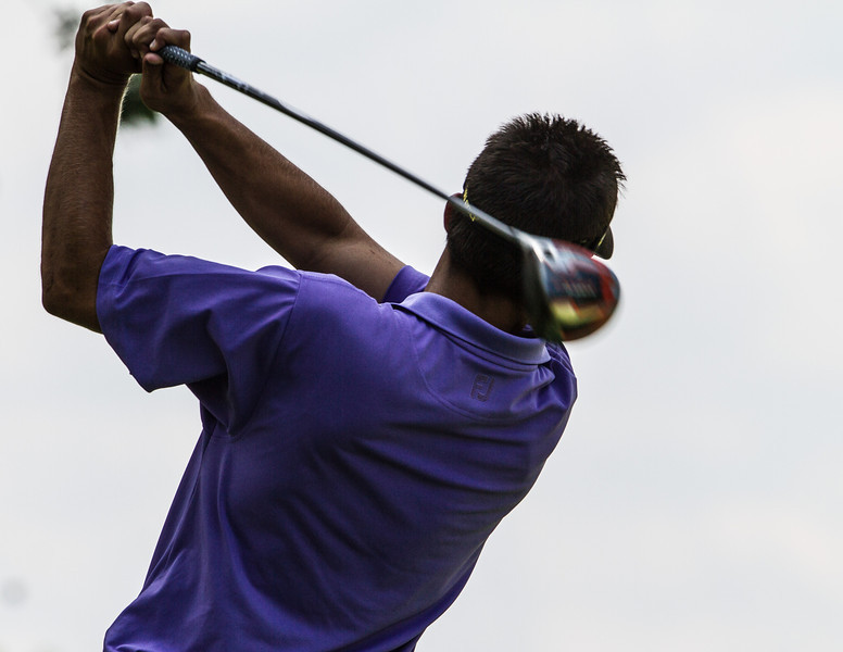 Curtis Thompson hits his tee ball on 17 during second round medal play at the 2012 Western Amateur Championship at Exmoor Country Club in Highland Park IL. on Wednesday, August 1, 2012. (WGA Photo/Charles Cherney)