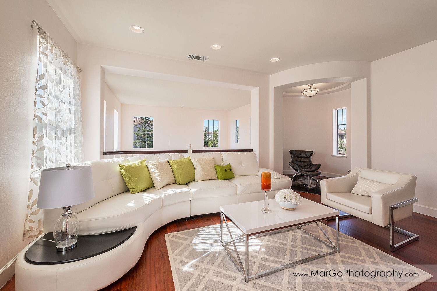 white upstairs lounge room in San Ramon house - real estate photography