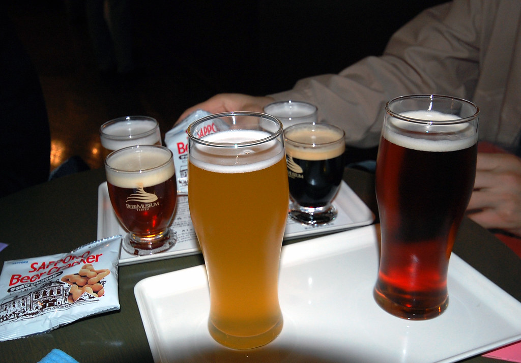 A selection of beers at Yebisu Garden Place