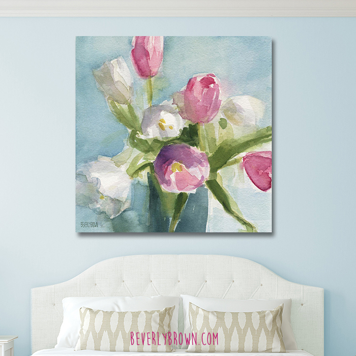 Feminine Bedroom with Soft Pastel Blue Walls & Pink, White, Blue Floral Canvas Art