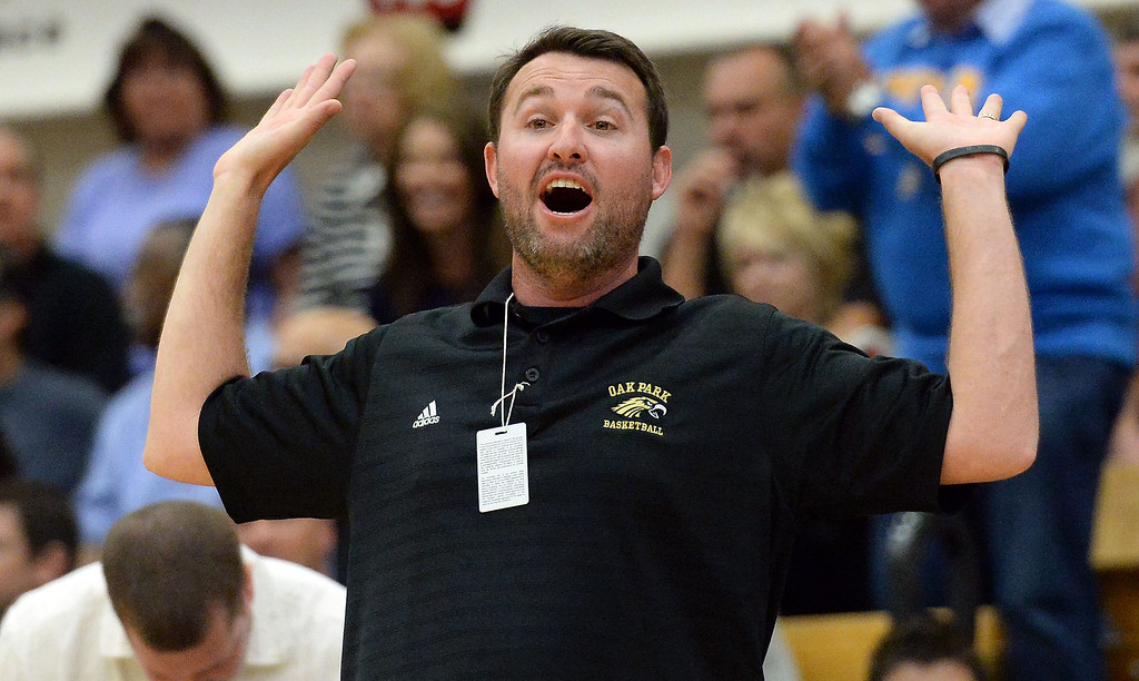 . Oak Park head coach Aaron Shaw reacts in the first half of a CIF-SS Division 3A Championship basketball game against St. Francis at the Felix Event Center on the campus of Azusa Pacific University in Azusa, Calif., on Friday, March 7, 2014. (Keith Birmingham Pasadena Star-News)