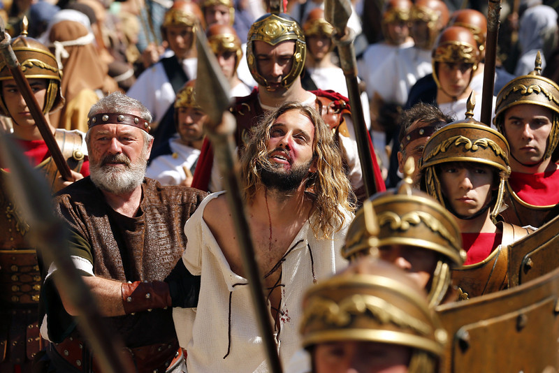 . Actors perform the Passion of Christ during Good Friday, in Castro Urdiales, province of Cantabria in northern Spain on April 18, 2014. Living Passion is a representation of the Passion of Christ from the last supper to his crucifixion, death and resurrection.  (CESAR MANSO/AFP/Getty Images)