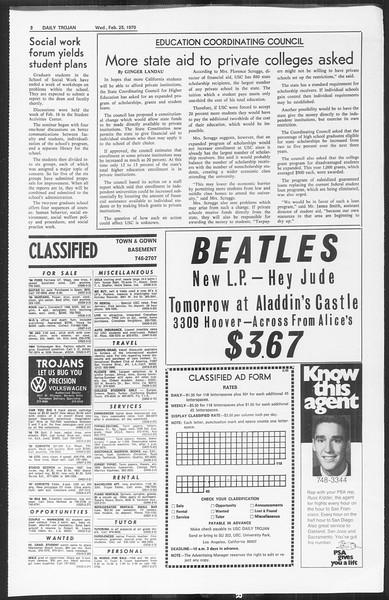 Daily Trojan, Vol. 61, No. 80, February 25, 1970