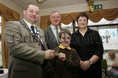 Cloughreagh House Primary Schools Art Competition. Deputy Mayor Martin Connolly and  Ms Nuala Gorman, Newry and Mourne Trust along with Cathal Boylan and St Joseph's P.S. Meigh Principal Mr Michael McKinley. 06W52N6