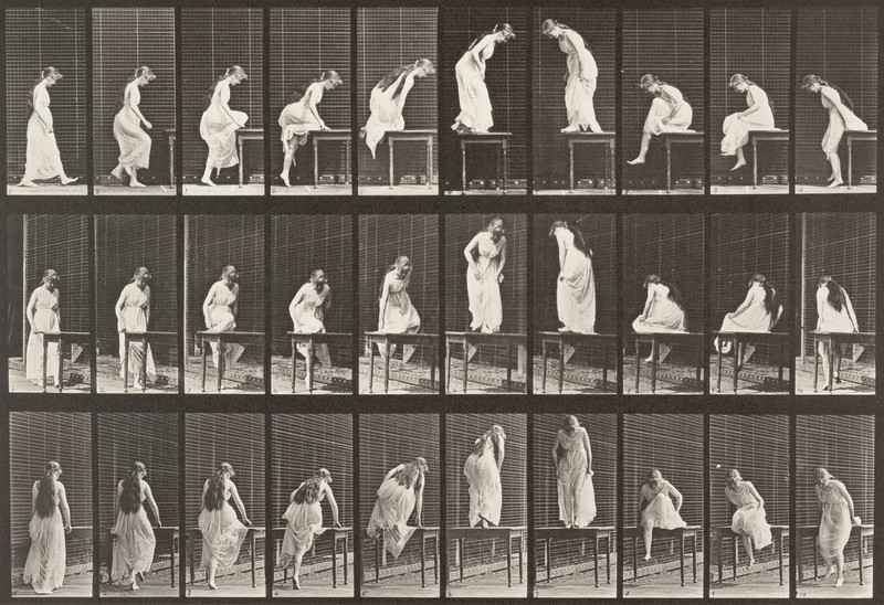 Semi-nude female getting on and off a table (Animal Locomotion, 1887, plate 513)