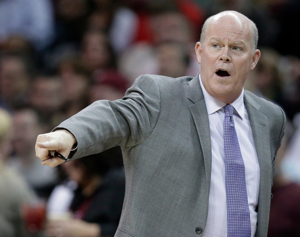 . Charlotte Hornets head coach Steve Clifford yells to players in the first half of an NBA basketball game between the Hornets and the Cleveland Cavaliers, Wednesday, Feb. 24, 2016, in Cleveland. The Cavaliers won 114-103. (AP Photo/Tony Dejak)