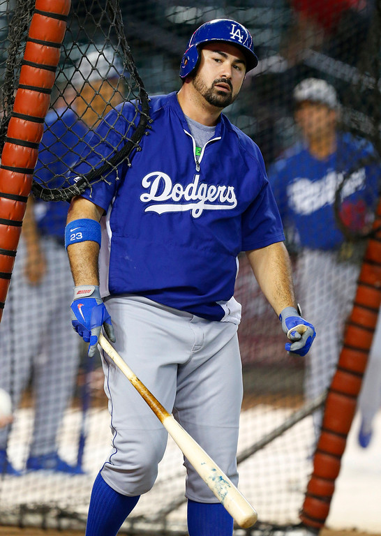 . Los Angeles Dodgers\' Adrian Gonzalez walks out of the batting cage during batting practice prior to a baseball game against the Arizona Diamondbacks on Monday, Sept. 16, 2013, in Phoenix. (AP Photo/Ross D. Franklin)