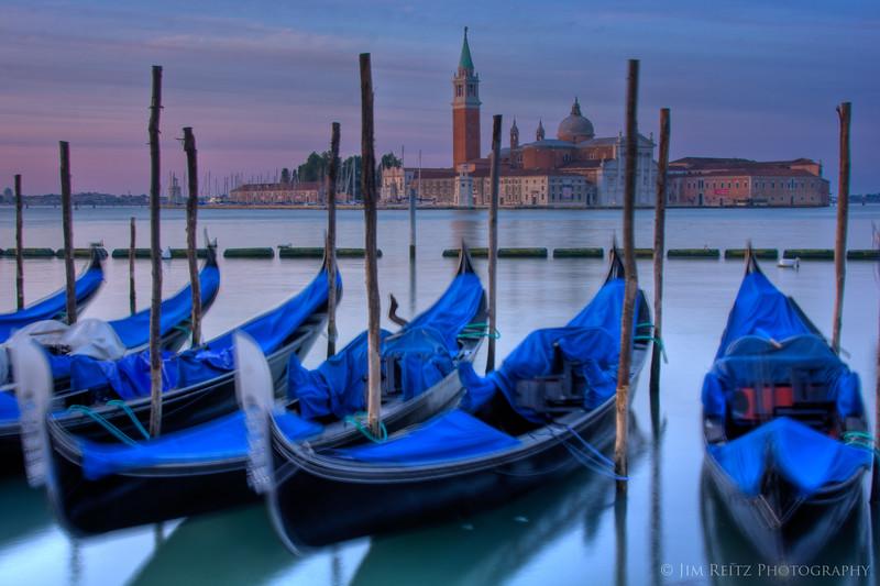 Gondolas at sunrise, Venice.