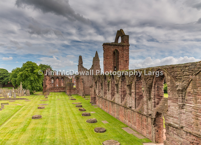 Ruins of Arbroath Abbey gardens and cemetery