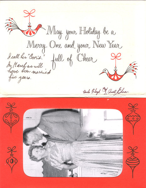 Elna and Floyd Turner, Christmas card, 1957