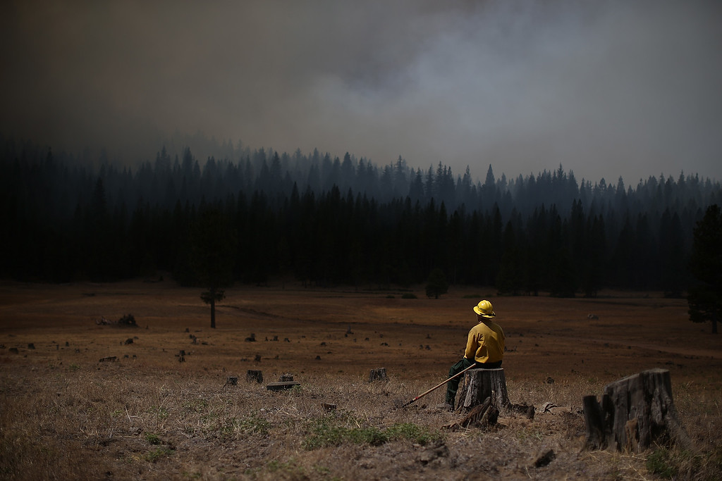 . U.S. Fish and Wildlife Service firefighter Corey Adams sits on a tree stump as he monitors the Rim Fire on August 25, 2013 near Groveland, California. The Rim Fire continues to burn out of control and threatens 4,500 homes outside of Yosemite National Park.  (Photo by Justin Sullivan/Getty Images)