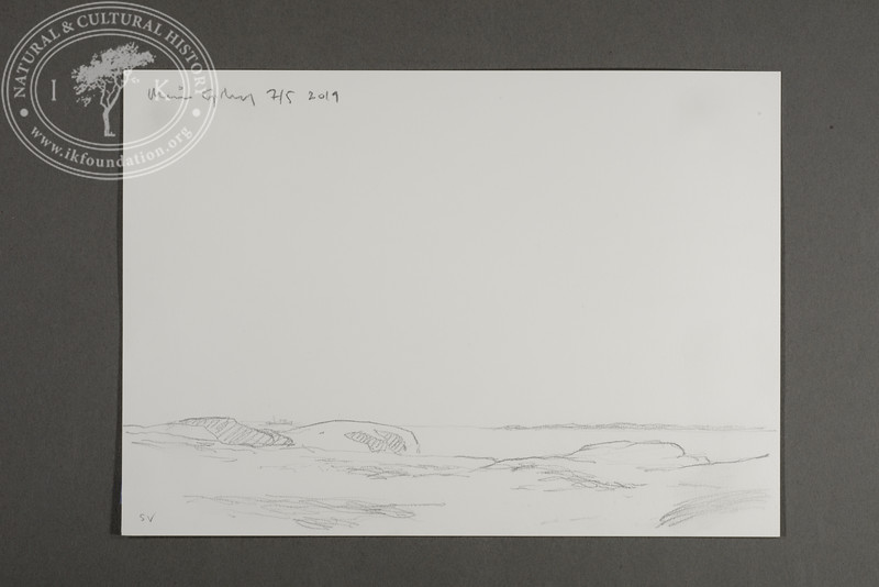 """SW view from the site of the Field Station at Prins Karls Forland   7.5.2019   """"I want to convey what I see with immediacy and simplicity to make the viewer feel present on the Arctic scene.""""   Måns Sjöberg"""