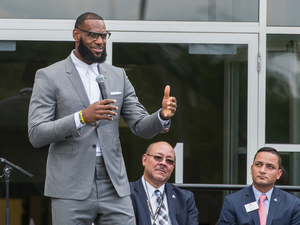 . LeBron James speaks at the opening ceremony for the I Promise School in Akron, Ohio, Monday, July 30, 2018. The I Promise School is supported by the The LeBron James Family Foundation and is run by the Akron Public Schools. (AP Photo/Phil Long)