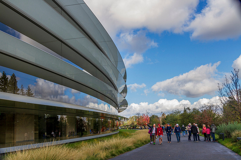 """Apple """"Spaceship"""" Open House Dec. '19; path around 1-mile circumference Ring building"""