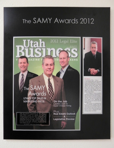 2012-2-14 ––– The president and CEO surprised me today following a meeting. They gave me this plaque with the Utah Business Magazine cover. It now hangs in my office at work.