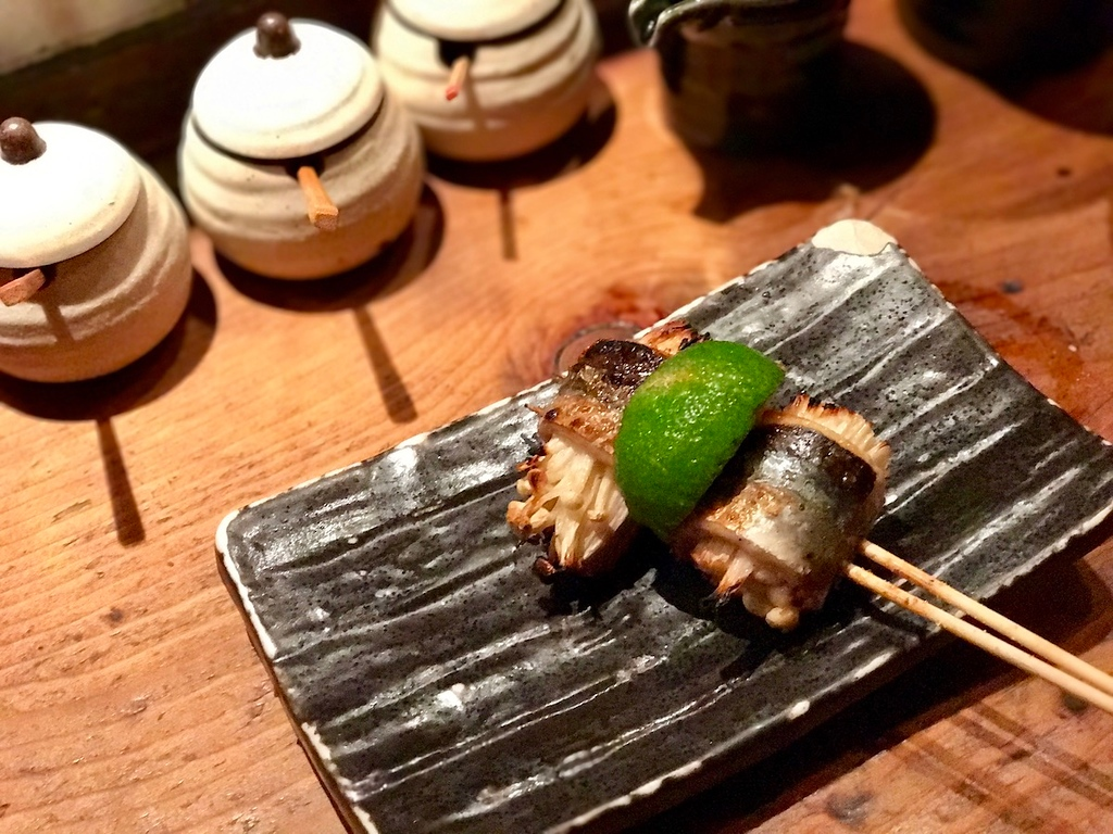ackerel-wrapped enoki mushrooms with sudachi lime - greater than the sum of its parts.