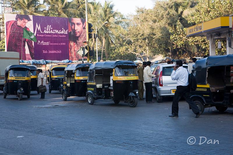 lots of rickshaws - this is in the Banda area of Mumbai
