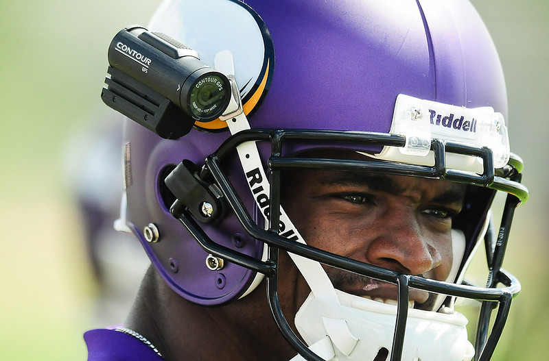 . A small video camera was attached to Minnesota Vikings running back Adrian Peterson\'s helmet at Vikings training camp in Mankato, Minn., on Friday, July 26, 2013. (Pioneer Press: Ben Garvin)