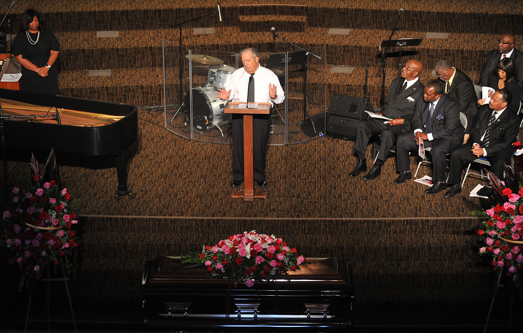 . 2/23/13 - Long Beach Mayor Bob Foster speaks at the funeral for Autrillia Watkins Scott on Saturday afternoon at the Grace Brethren Church. After 30 years of nursing Scott retired in 1991 and found a second career as a a full-time community activist in the City of Long Beach. Family and friends spoke of what a great woman Scott was and how her legacy will live on in the community. Photo by Brittany Murray / Staff Photographer