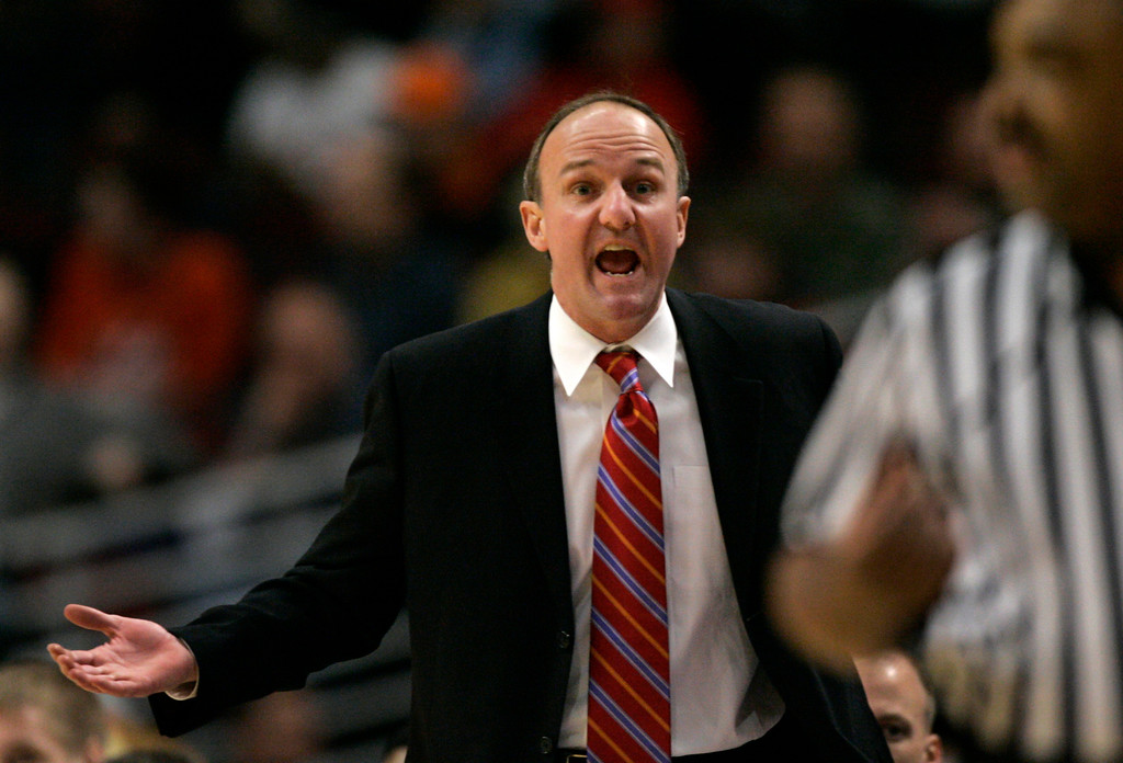 . Ohio State coach Thad Matta questions a call by one of the referees during the first half of the Big Ten conference basketball quarterfinals game against Michigan, in Chicago, Friday, March 9, 2007. (AP Photo/Brian Kersey)