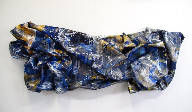 "Blue Thunder-Iorillo, 30""x72""x10"" sculptured canvas"