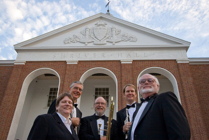 Homewood Brass Quintet, shown at Shriver Hall on the Homewood campus, The Johns Hopkins University