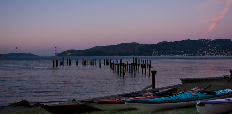 Kayaks at dawn.