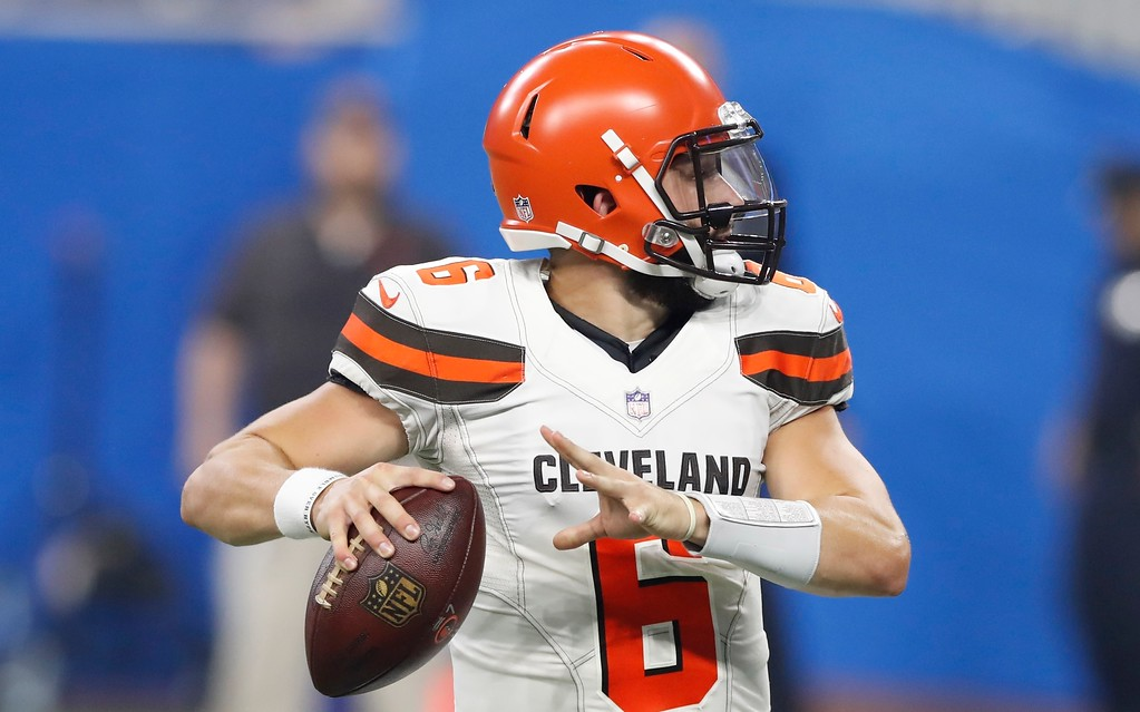 . Cleveland Browns quarterback Baker Mayfield looks downfield during the first half of an NFL football preseason game against the Detroit Lions, Thursday, Aug. 30, 2018, in Detroit. (AP Photo/Carlos Osorio)