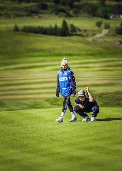 Kinga Korpak, Logi Sigurðsson.  Íslandsmót í golfi 2019 - Grafarholt 2. keppnisdagur Mynd: seth@golf.is