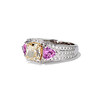 2.18ct Radiant Cut Diamond and Pink sapphire 3-Stone Ring by DBL GIA W-X, VS2 1
