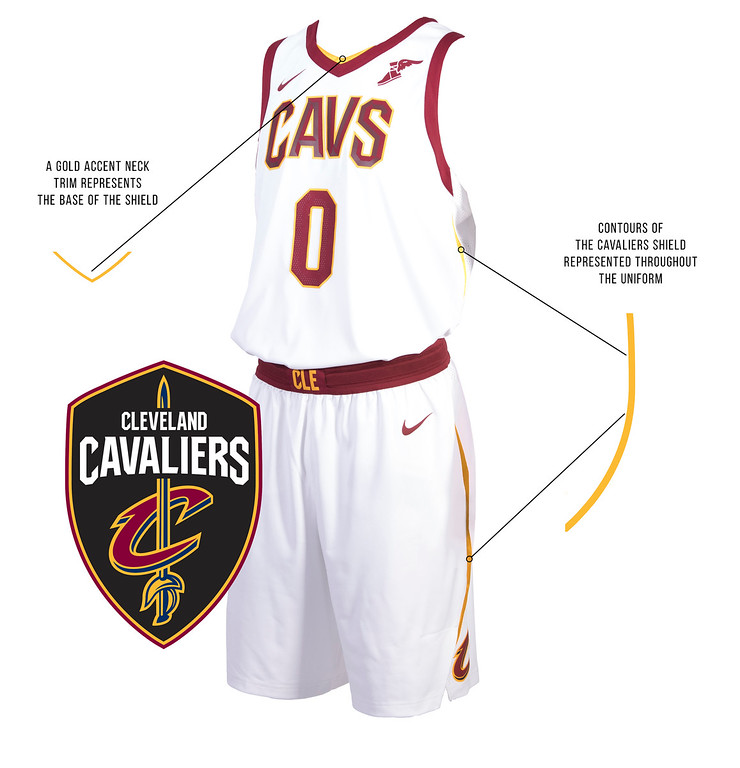 . The Cavs new on-court look reflects the image of a shield to represent the team�s commitment to �Defend The Land� and the spirit of resilience that is Cleveland. The shield, which was recently added to the Cavaliers updated logo collection and brand identity, is represented as a silhouette into the design of the uniform. A gold accent trim outlines the V of the collar, runs down the side and back shoulders of the jersey and onto the shorts to shape the edges of the armor.  (Courtesy Cleveland Cavaliers)