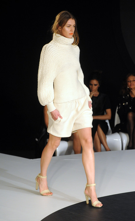 . LONDON, UNITED KINGDOM - FEBRUARY 16: A model walks the runway during the International Woolmark prize grand final during London Fashion Week Fall/Winter 2013/14 at ME Hotel on February 16, 2013 in London, England. (Photo by Stuart Wilson/Getty Images)