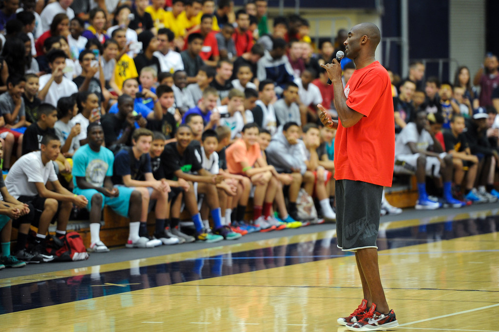 . Kobe Bryant welcomes campers to his Kobe Basketball Academy at UCSB, Wednesday, July 10, 2013. (Michael Owen Baker/L.A. Daily News)