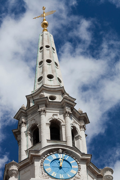 Detail of Saint Martin in the Fields bell tower, London, England, United Kingdom