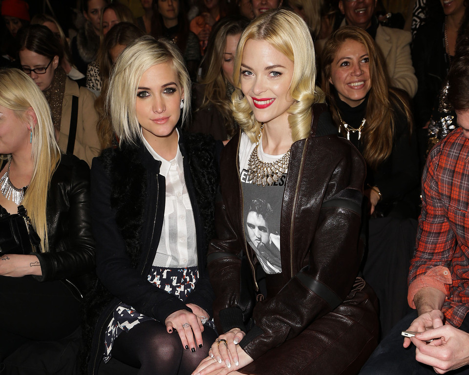 . This image released by Starpix shows Ashlee Simpson, left, and Jaime King at the Rebecca Minkoff  Fall 2013 collection, Friday, Feb. 8, 2013 during Fashion Week in New York. (AP Photo/Starpix, Andrew Toth)