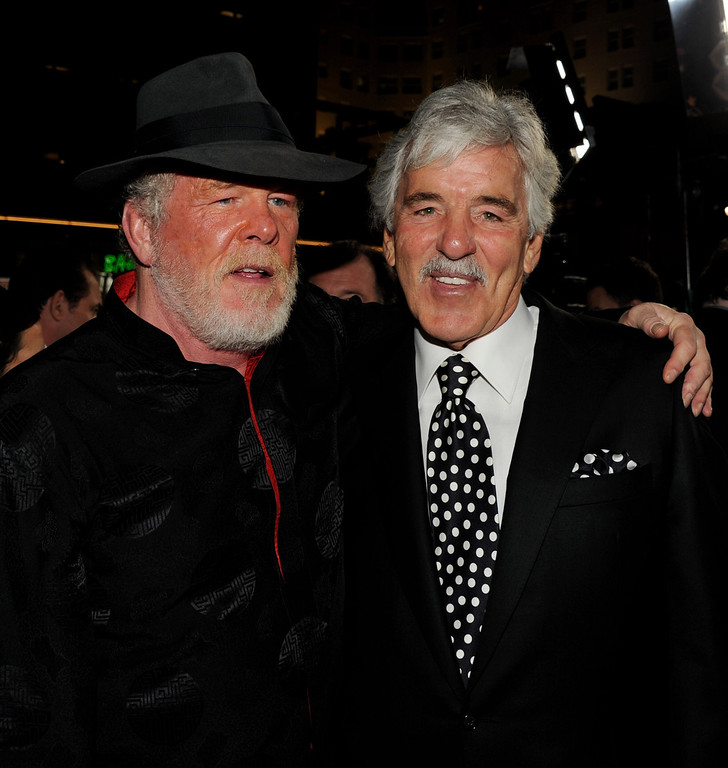 """. Actors Nick Nolte (L) and Dennis Farina arrive at the premiere of HBO\'s \""""Luck\"""" at the Chinese Theater on January 25, 2012 in Los Angeles, California.  (Photo by Kevin Winter/Getty Images)"""