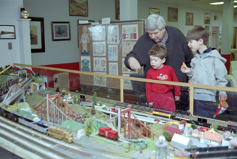 Gerry Libman with grandsons Noah Friedlander (left) and Joshua Berenzweig (right) at train museum in Hagerstown, MD, December 2001.