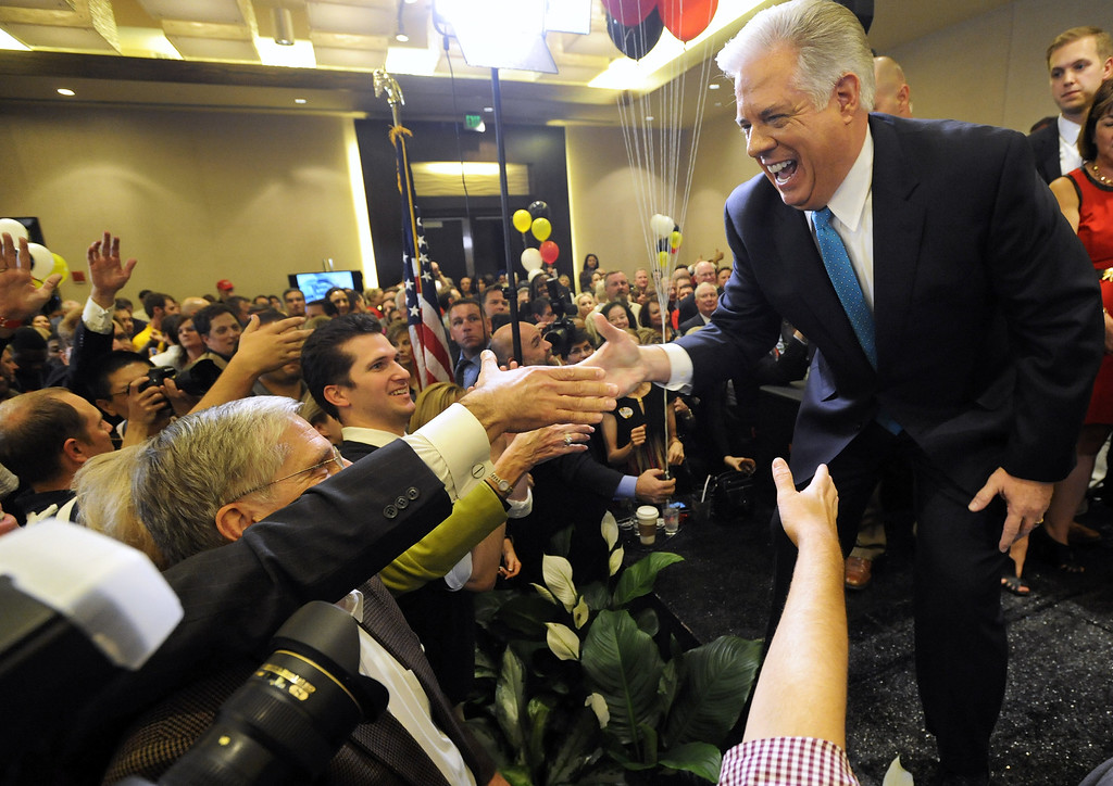 . Maryland Gov.-elect Larry Hogan, a Republican, acknowledges supporters after beating Democrat Anthony Brown in the state\'s gubernatorial race, Wednesday, Nov. 5, 2014 in Annapolis, Md. (AP Photo/Steve Ruark)